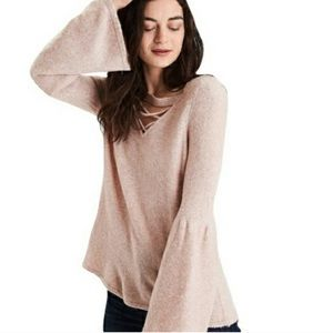 American Eagle Bell Sleeve Lace Up Neck Sweater